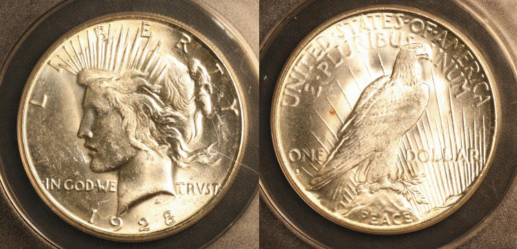 1928-S Peace Silver Dollar ANACS MS-63 camera small