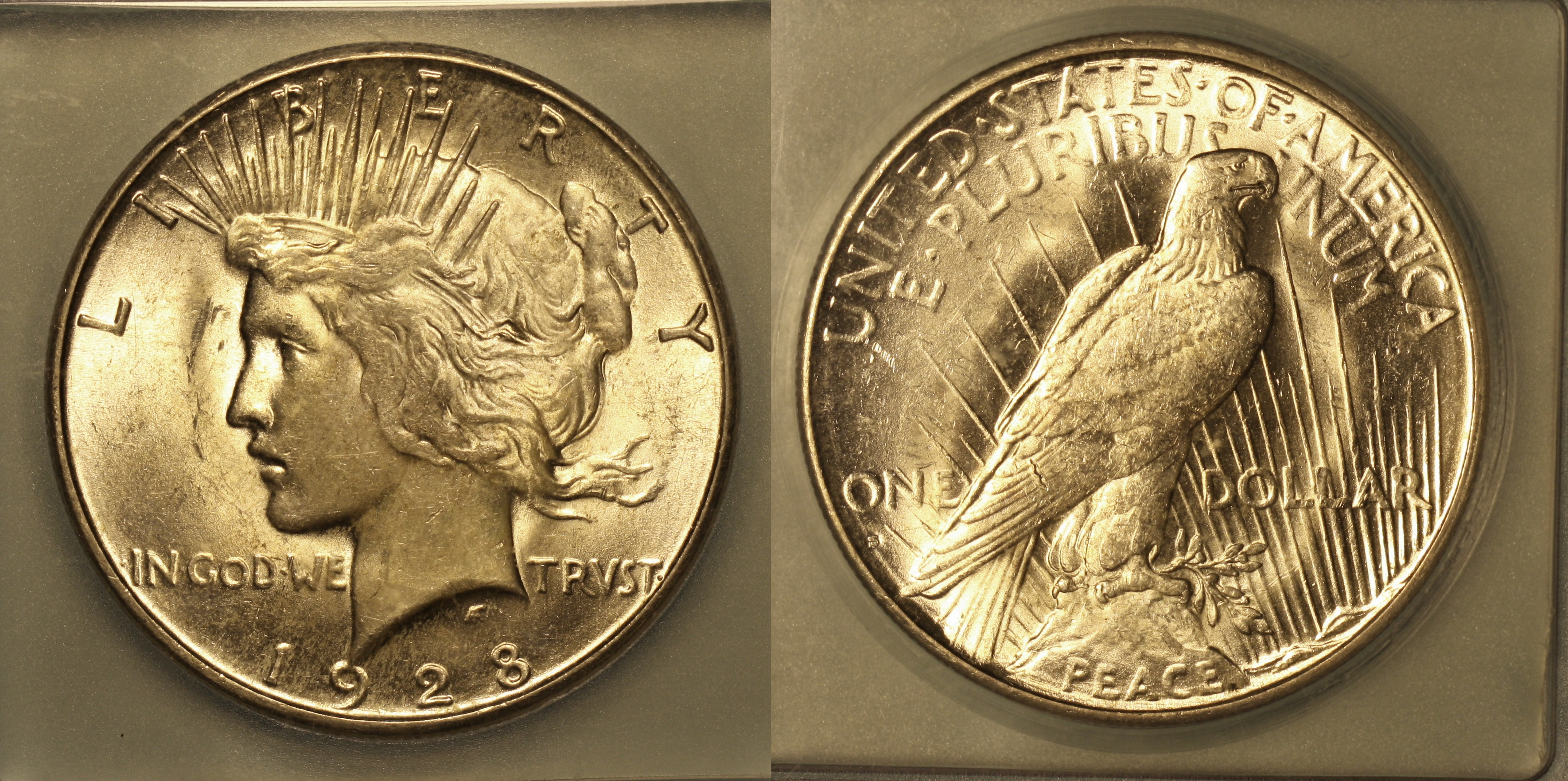 1928-S Peace Silver Dollar ICG MS-60 camera