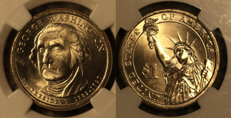 2007 George Washington Presidential Dollar NGC MS-64 Missing Edge Lettering camera small
