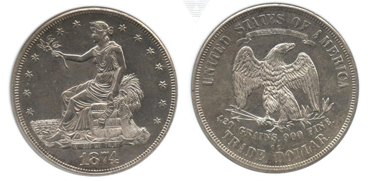 1874-CC Trade Dollar ANACS MS-60 small