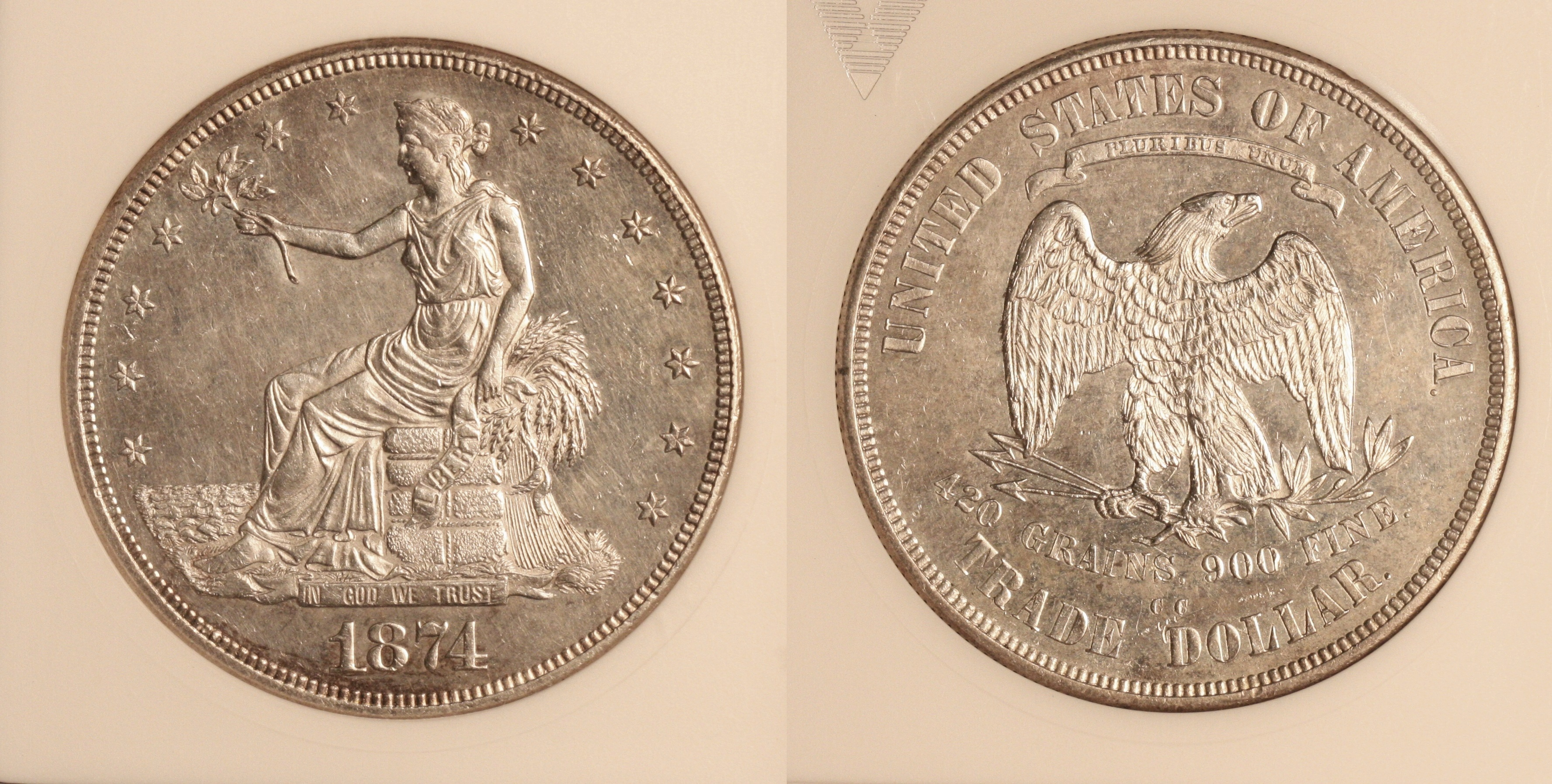 1874-CC Trade Dollar ANACS MS-60 camera