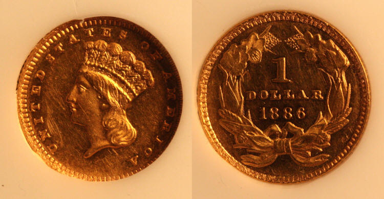 1886 Gold Dollar PCI Proof-60 camera small