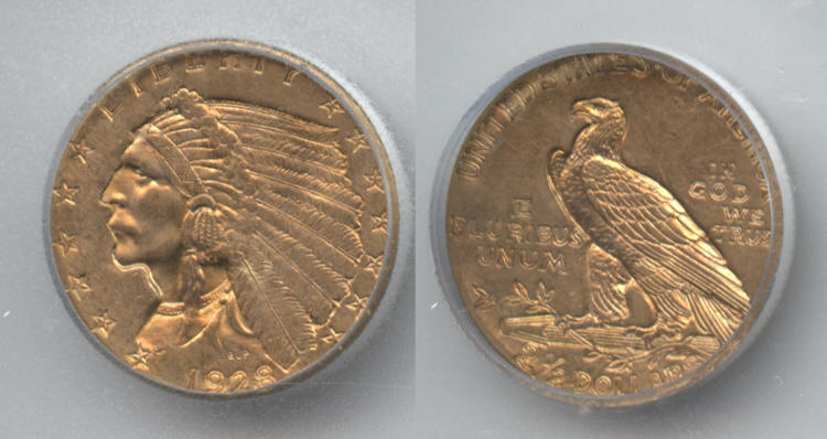 1928 Indian Head Gold $2.50 Quarter Eagle ICG MS-63 small