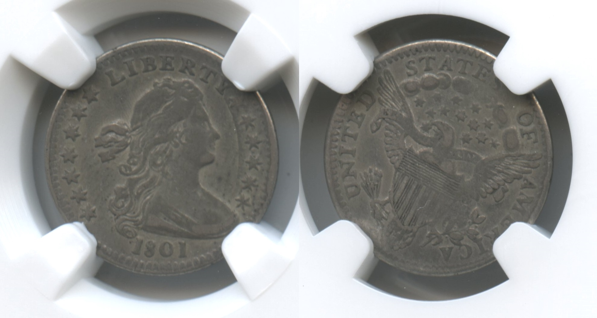1801 Draped Bust Half Dime NGC VF Details