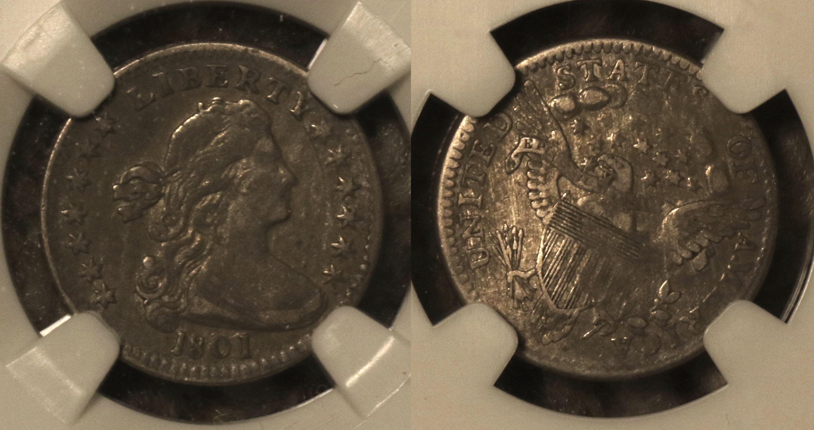 1801 Draped Bust Half Dime NGC VF Details camera