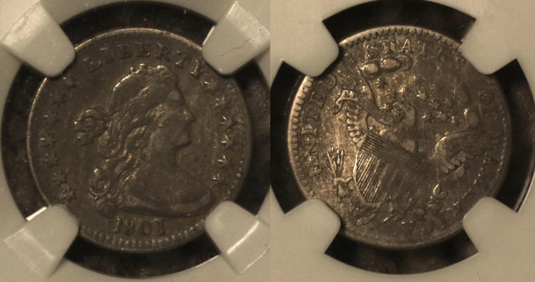 1801 Draped Bust Half Dime NGC VF Details camera small