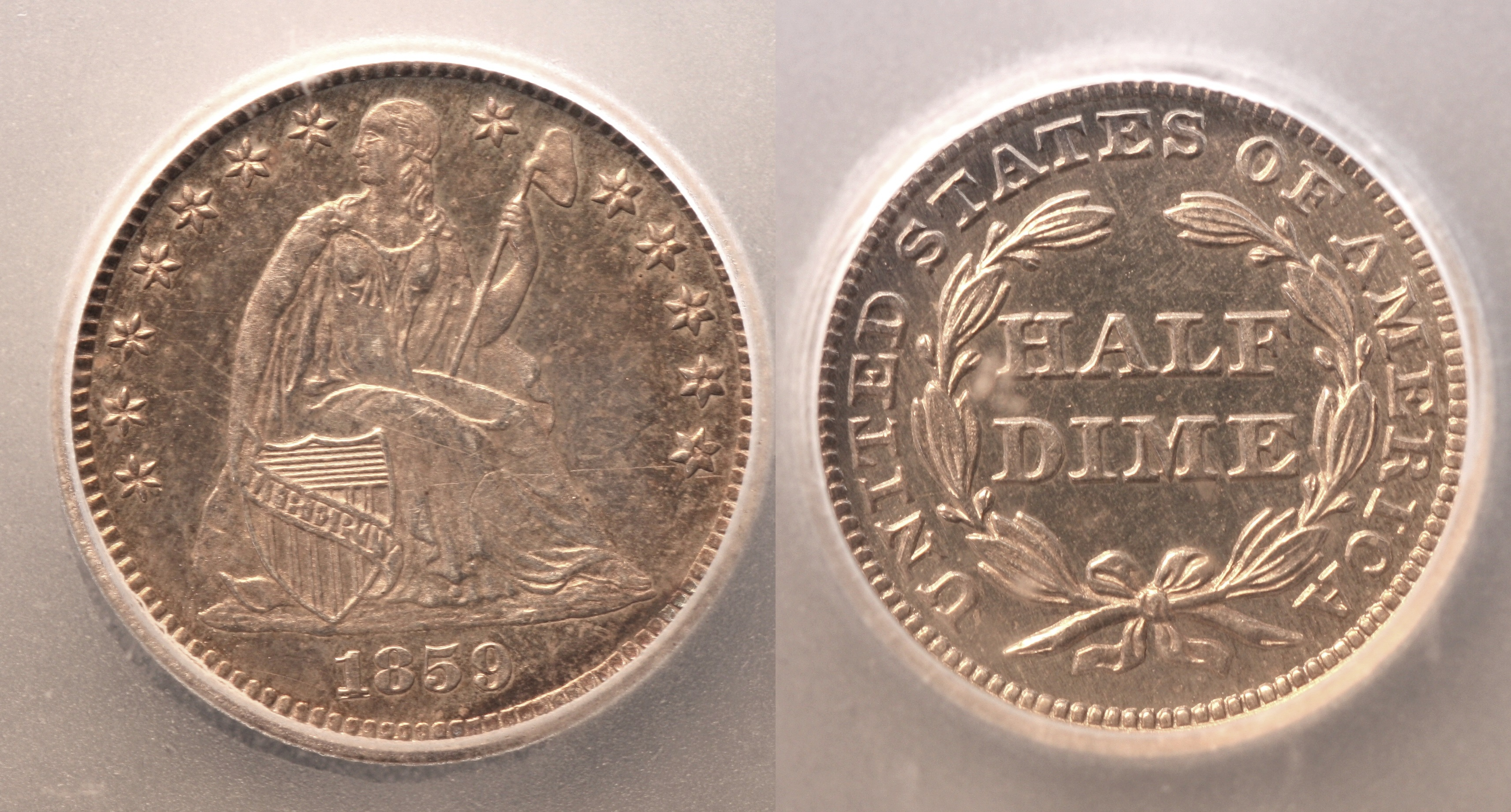 1859 Seated Liberty Half Dime ICG Proof-65 camera