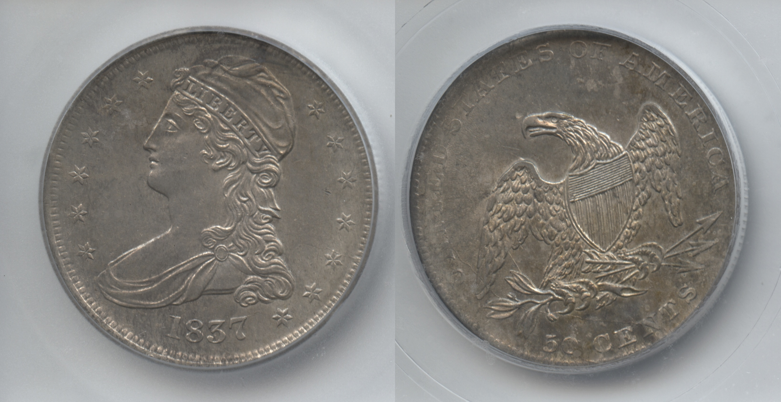 1837 Reeded Edge Capped Bust Half Dollar ICG MS-63