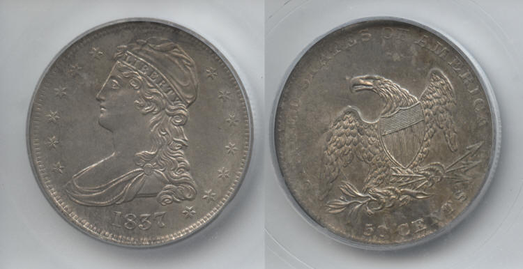 1837 Reeded Edge Capped Bust Half Dollar ICG MS-63 small