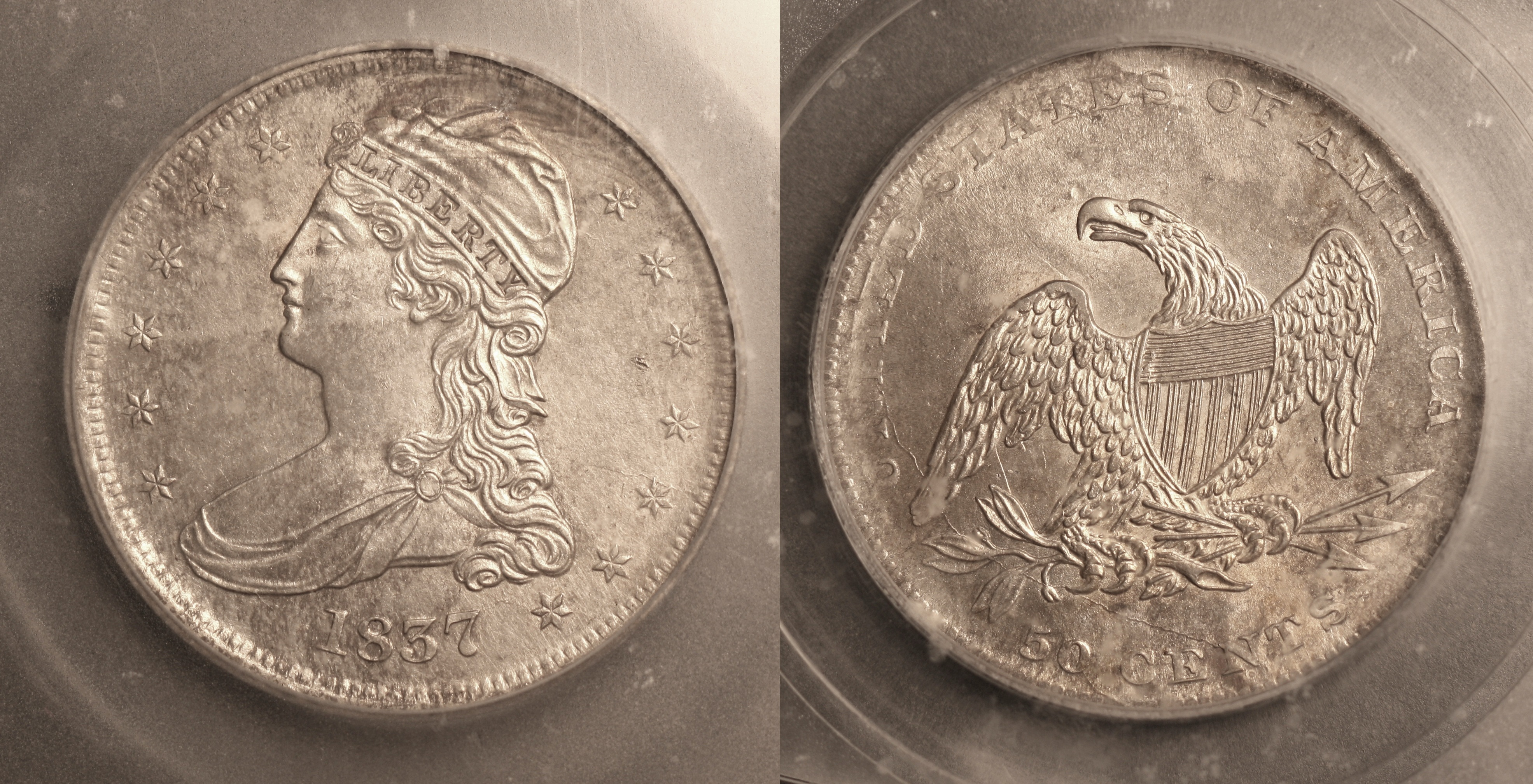 1837 Reeded Edge Capped Bust Half Dollar ICG MS-63 camera