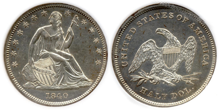 1840 Seated Liberty Half Dollar PCI Proof-60 small