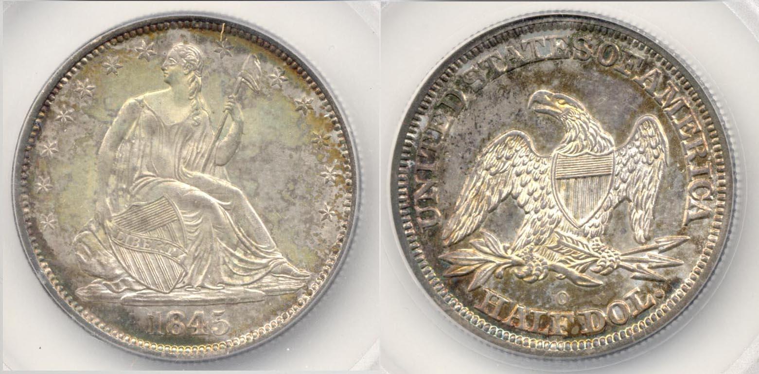 1845-O Seated Liberty Half Dollar SEGS MS-64