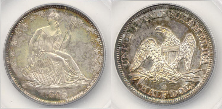 1845-O Seated Liberty Half Dollar SEGS MS-64 small