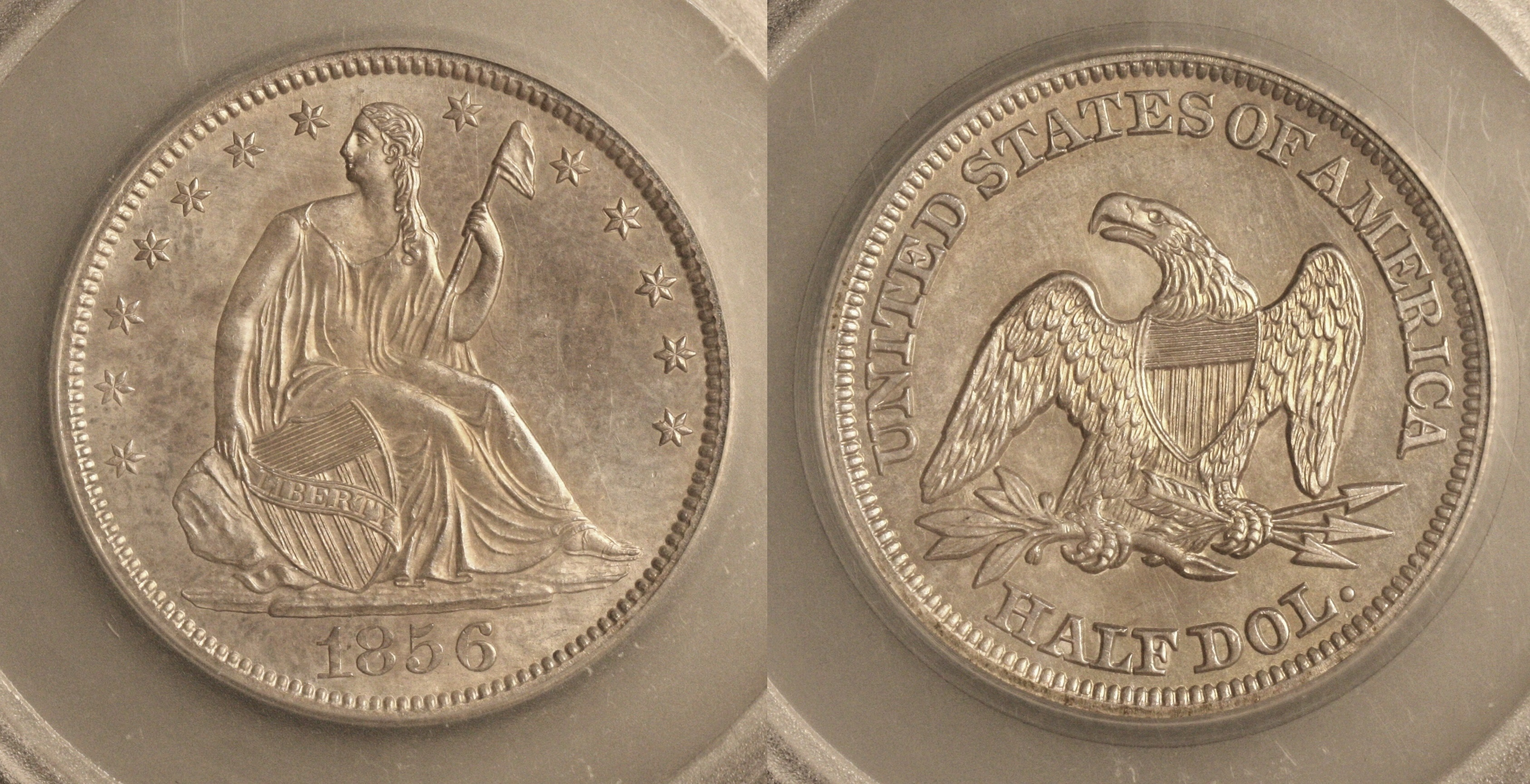 1856 Seated Liberty Half Dollar SEGS MS-64 camera