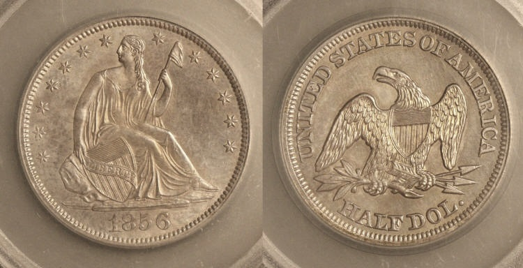 1856 Seated Liberty Half Dollar SEGS MS-64 camera small