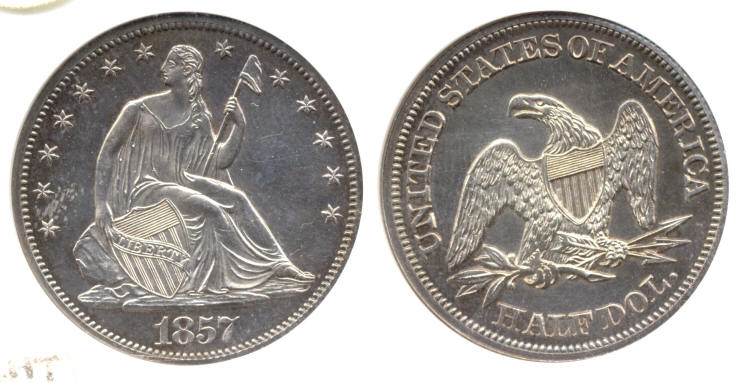 1857 Seated Liberty Half Dollar ANACS Proof-64 small