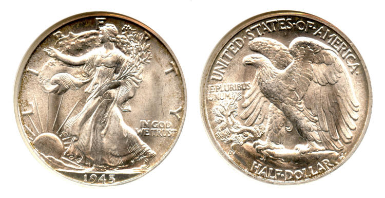 1945-D Walking Liberty Half Dollar ANACS MS-65 #a small