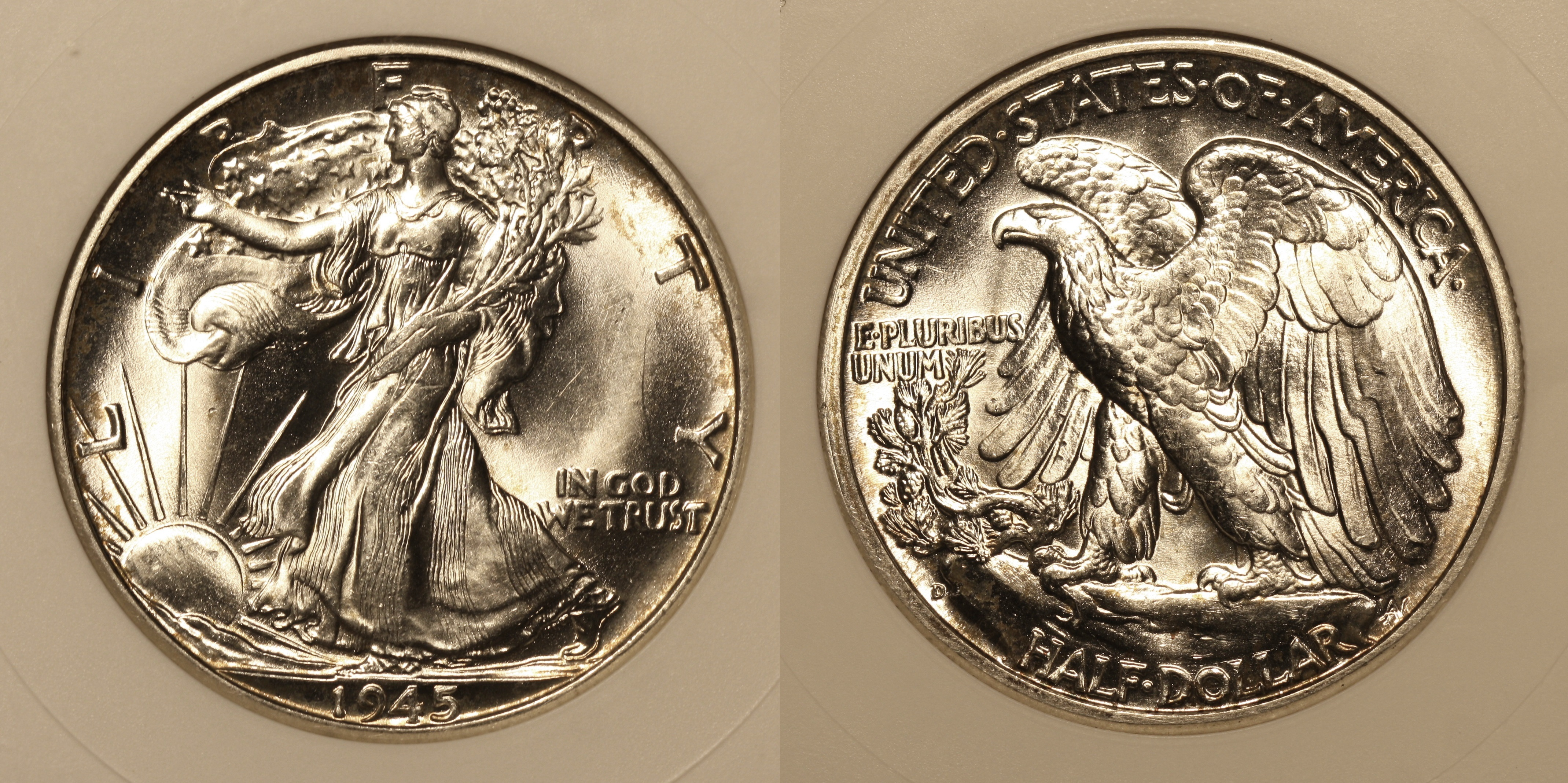 1945-D Walking Liberty Half Dollar ANACS MS-65 #a camera