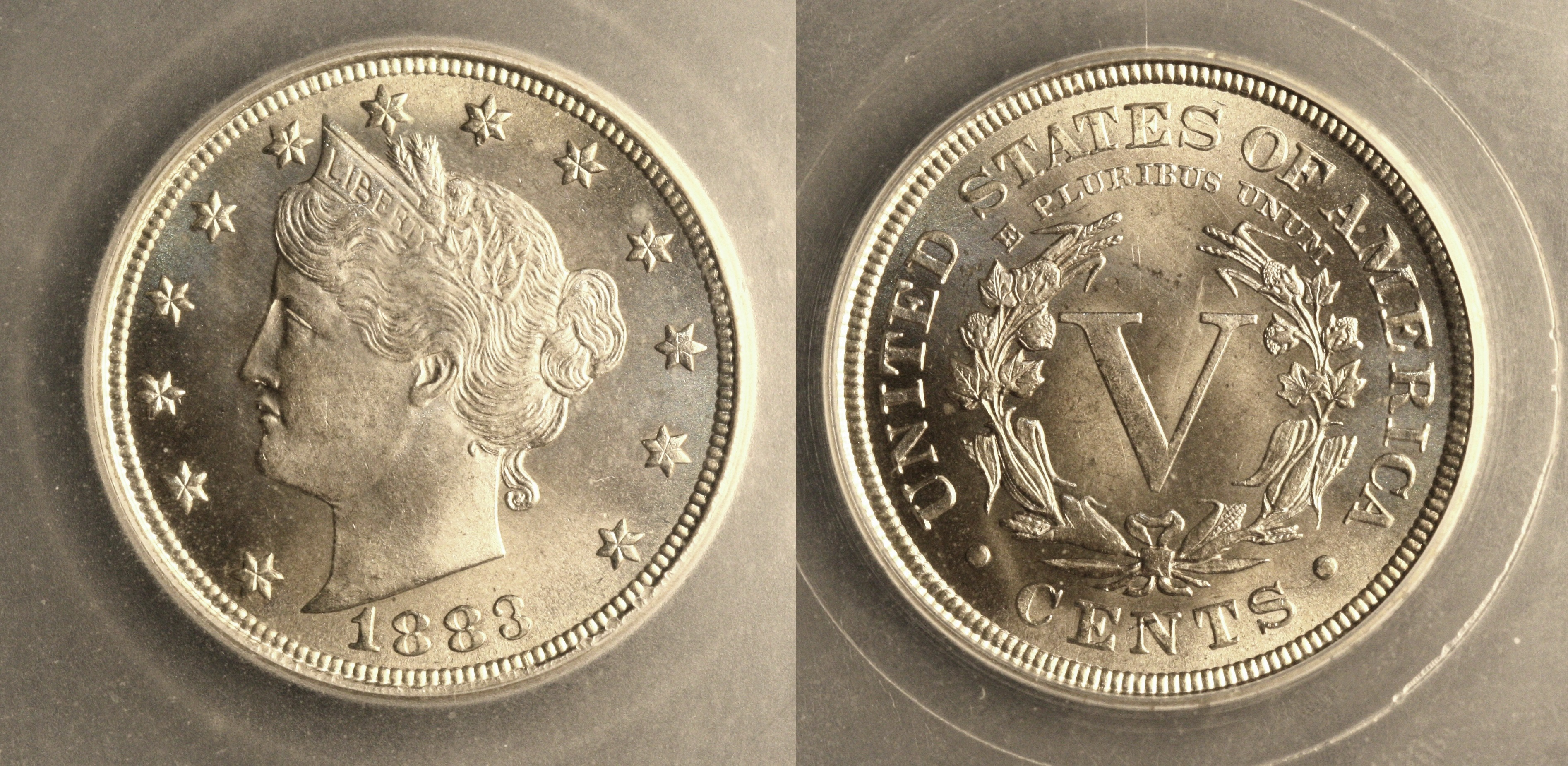 1883 With Cents Liberty Nickel SEGS MS-66 camera