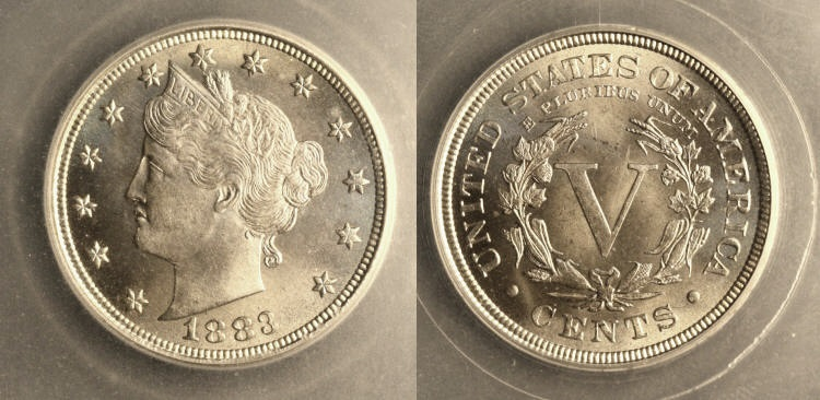 1883 With Cents Liberty Nickel SEGS MS-66 camera small