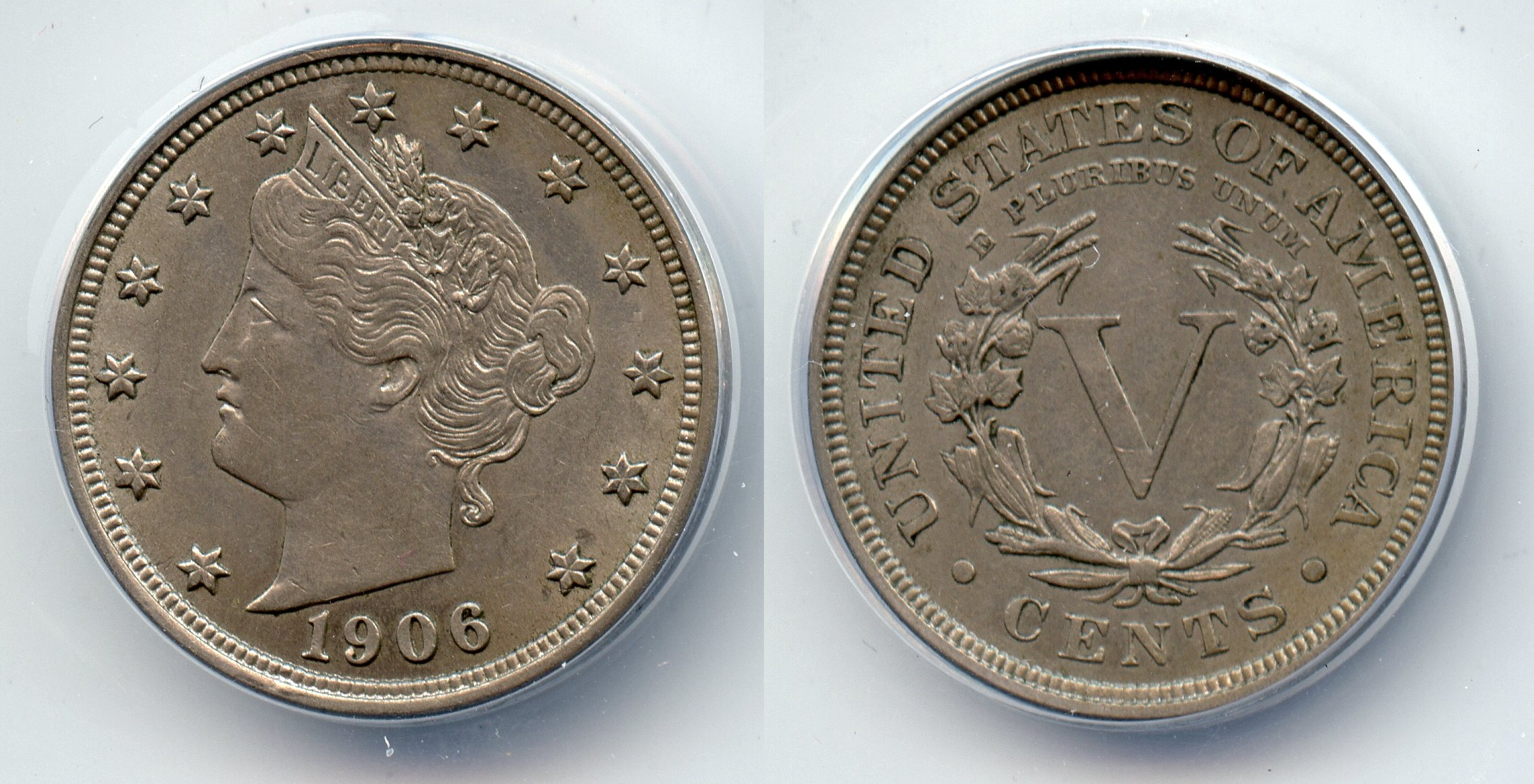 1906 Liberty Head Nickel ANACS AU-55