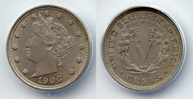 1906 Liberty Head Nickel ANACS AU-55 small