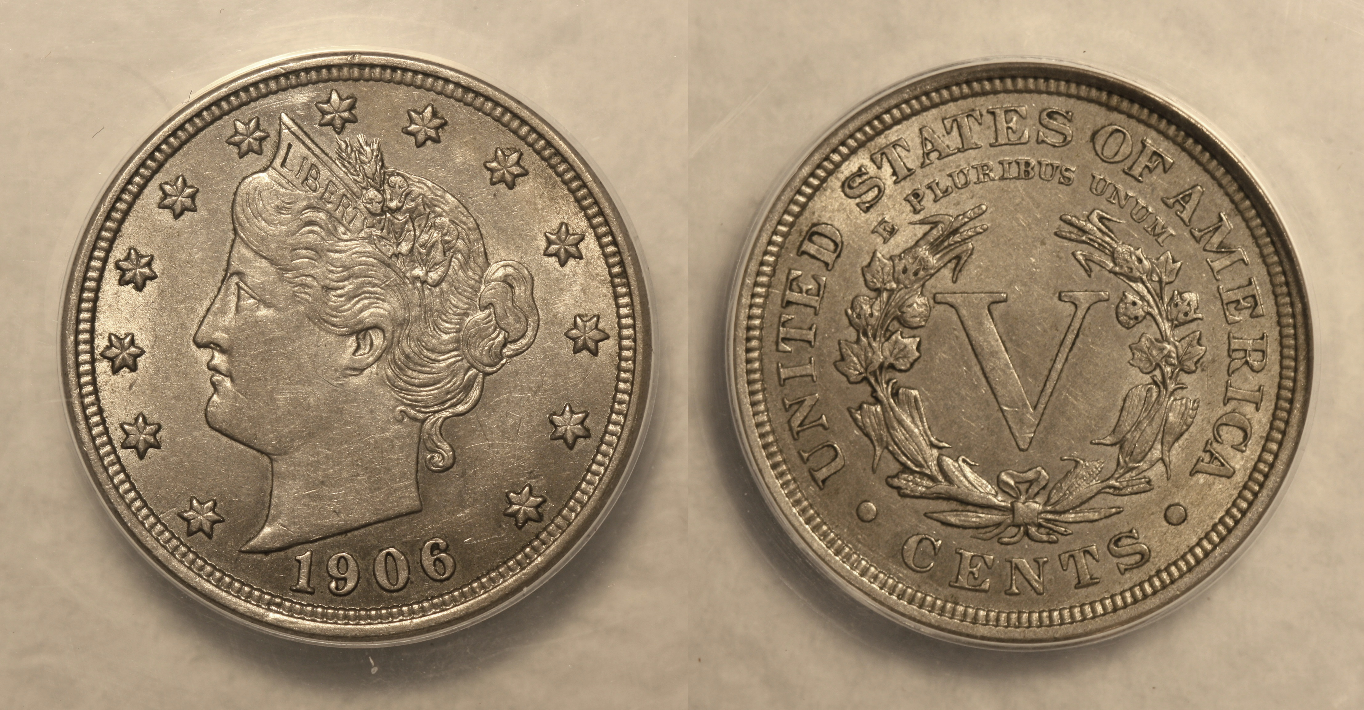 1906 Liberty Head Nickel ANACS AU-55 camera
