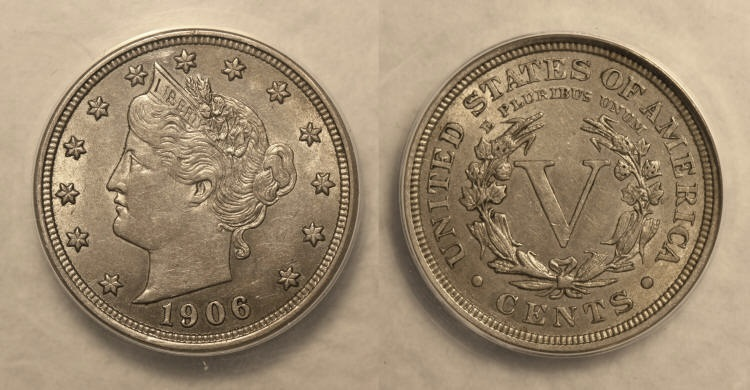 1906 Liberty Head Nickel ANACS AU-55 camera small
