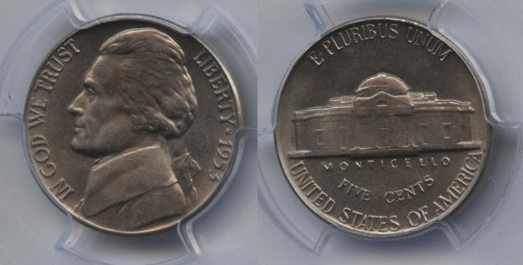 1953 Jefferson Nickel PCGS MS-65 small