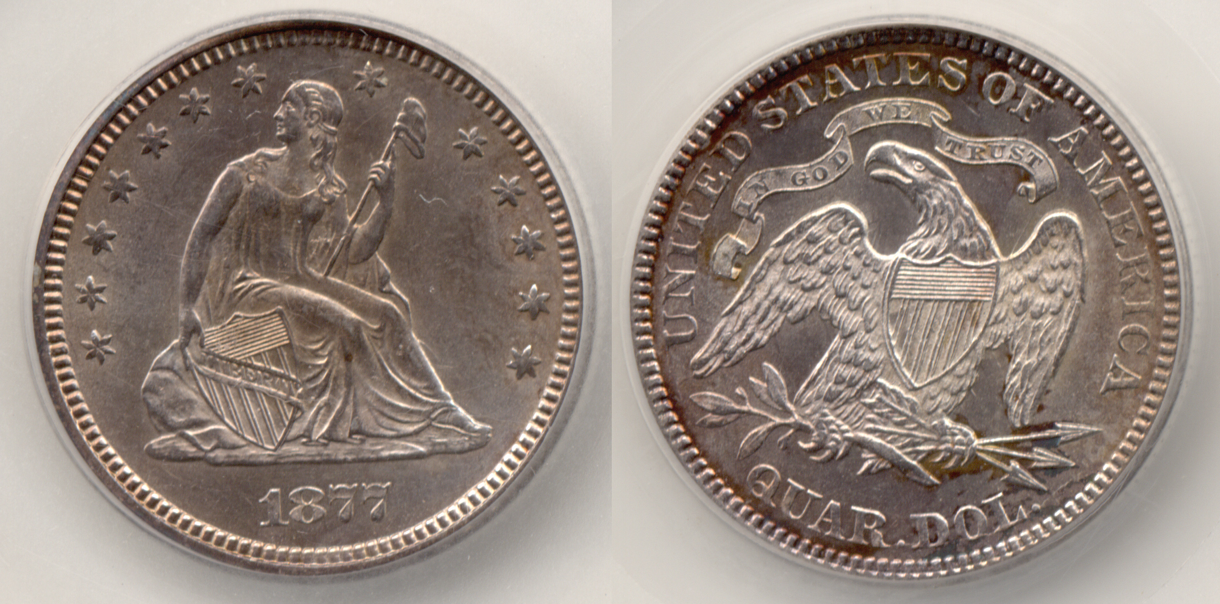 1877 Seated Liberty Quarter SEGS MS-64