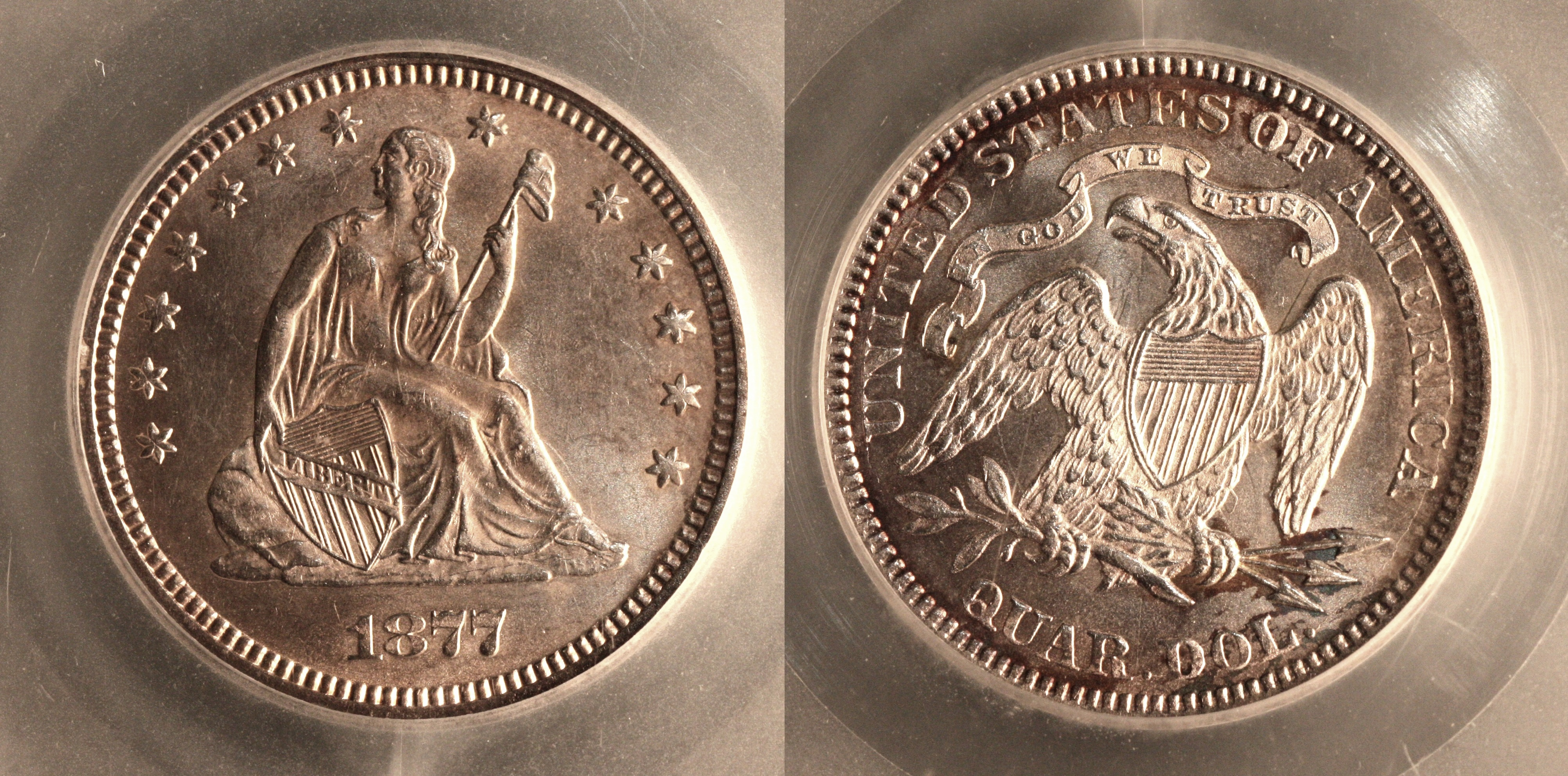 1877 Seated Liberty Quarter SEGS MS-64 camera