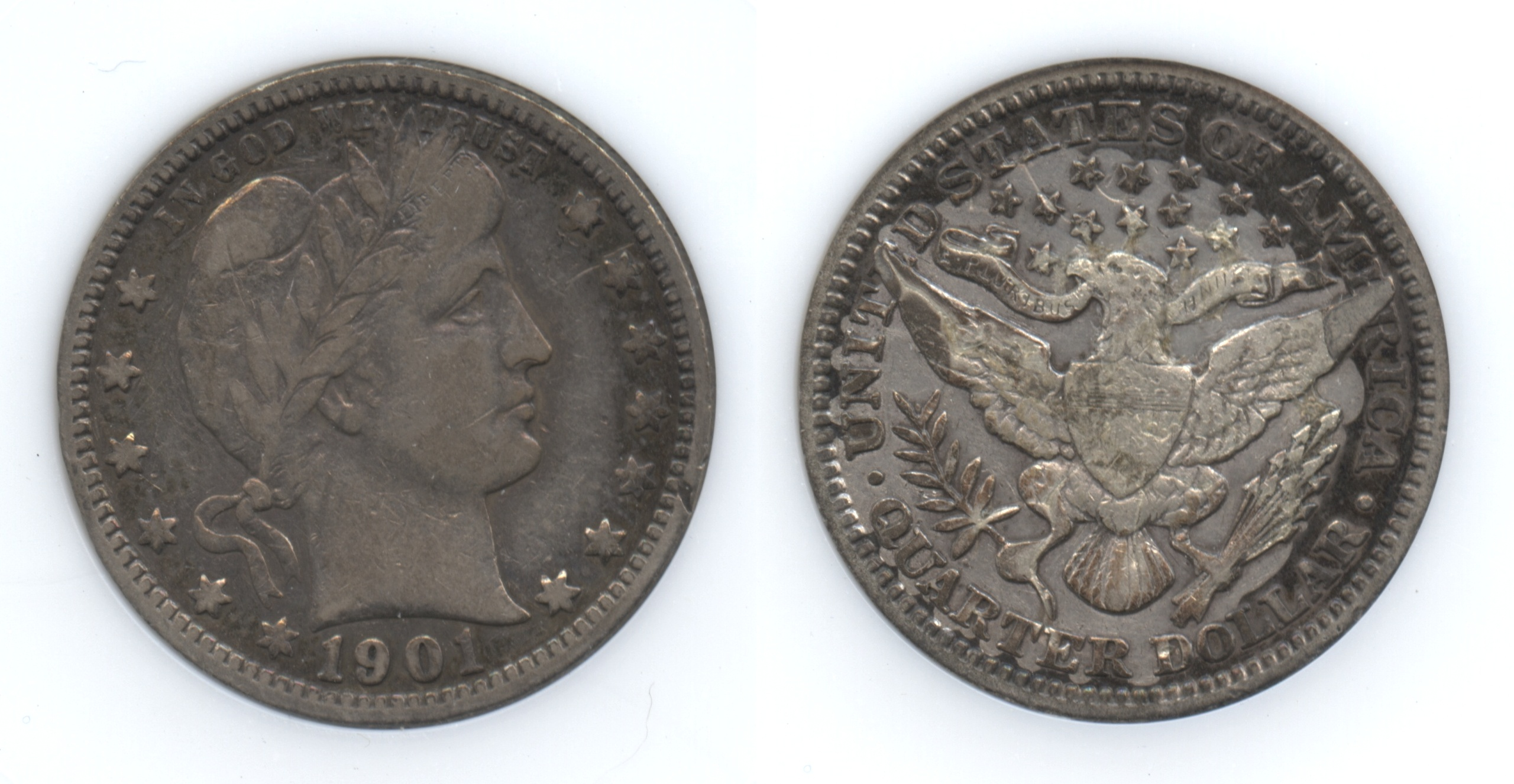 1901 Barber Quarter ANI VF-25 (Fine-12)
