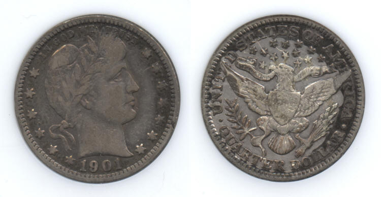 1901 Barber Quarter ANI VF-25 (Fine-12) small