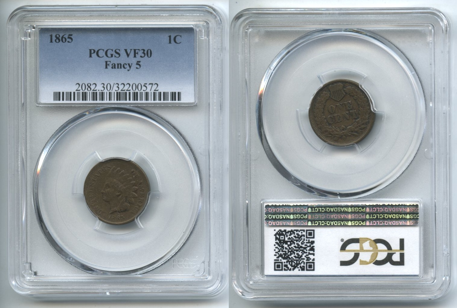 1865 Indian Head Cent PCGS VF-30