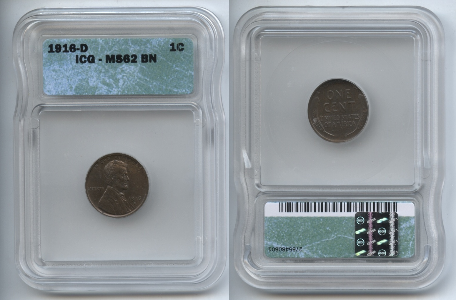 1916-D Lincoln Cent ICG MS-62 Brown