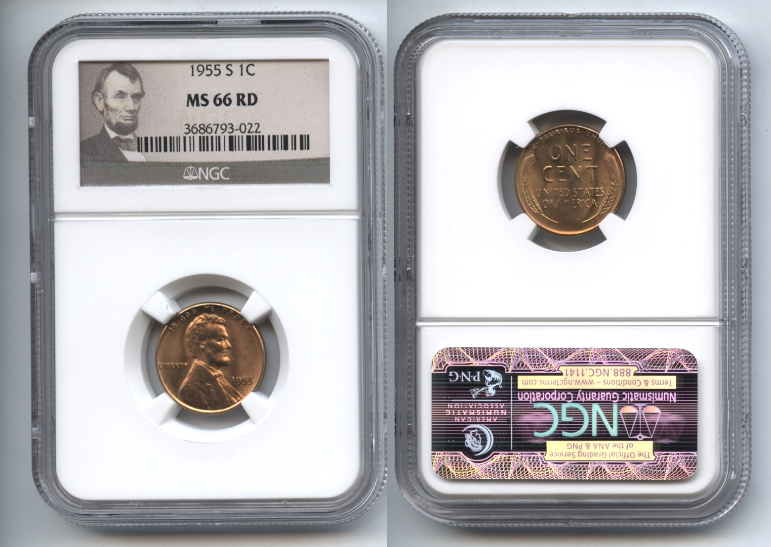 1955-S Lincoln Cent NGC MS-66 Red #h