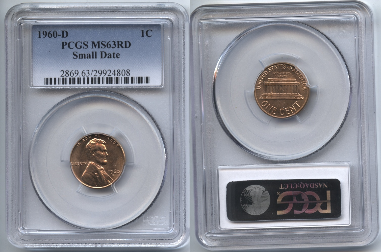 1960-D Small Date Lincoln Cent PCGS MS-63 Red #b