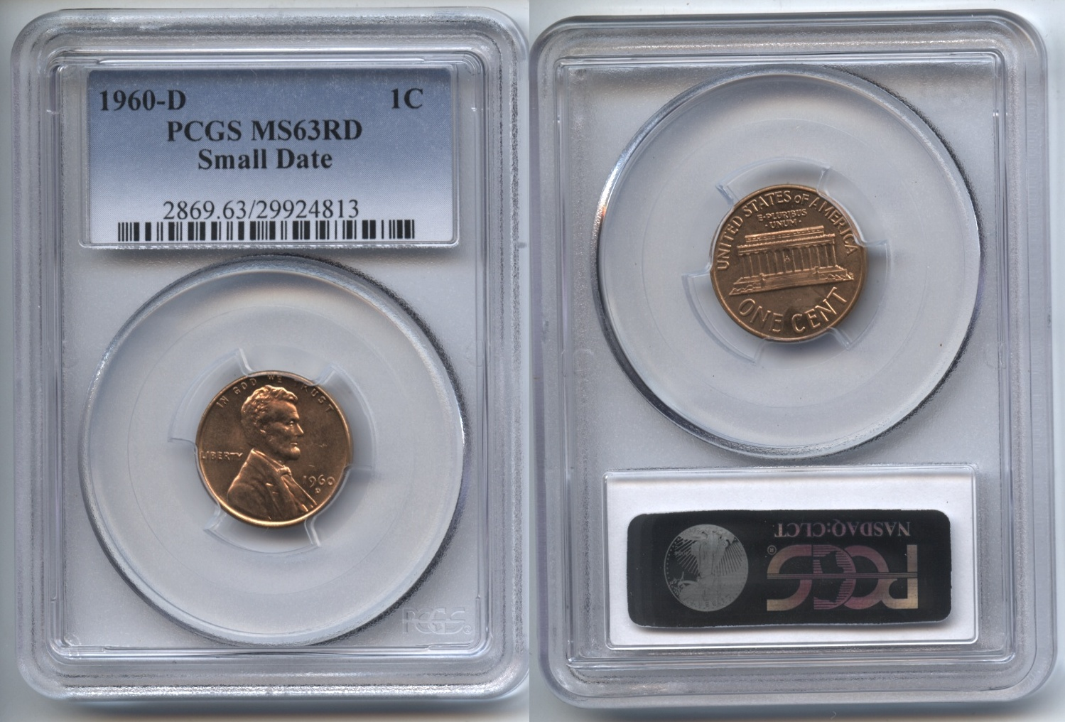 1960-D Small Date Lincoln Cent PCGS MS-63 Red #i