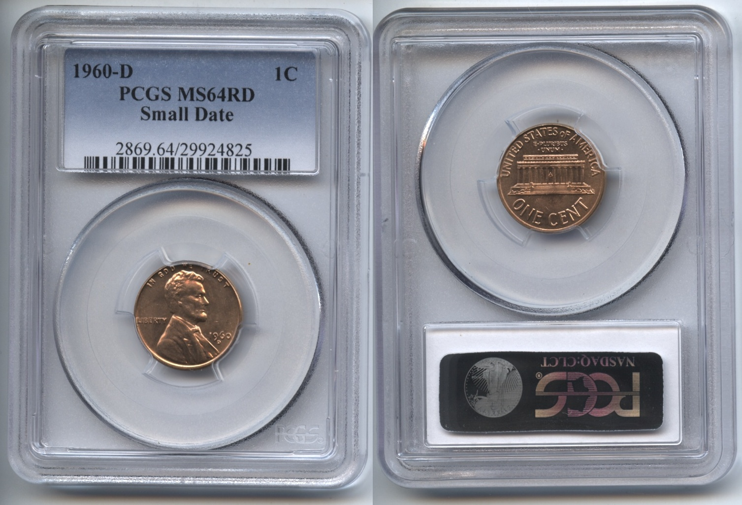 1960-D Small Date Lincoln Cent PCGS MS-64 Red #b