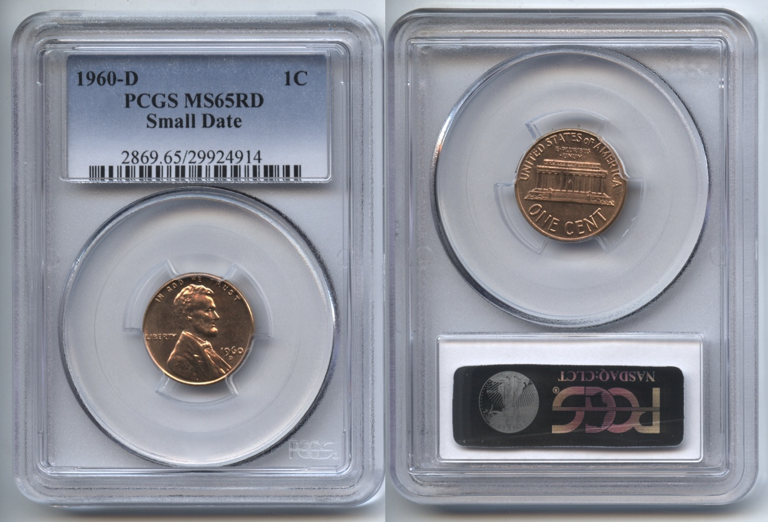 1960-D Small Date Lincoln Cent PCGS MS-65 Red