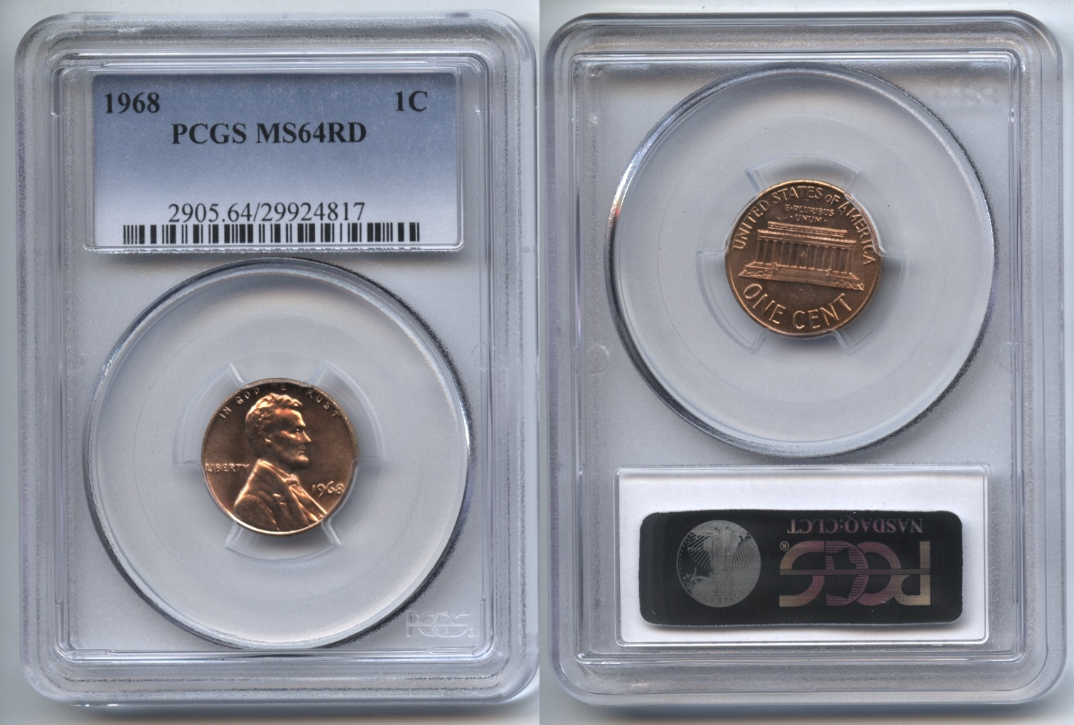 1968 Lincoln Cent PCGS MS-64 Red