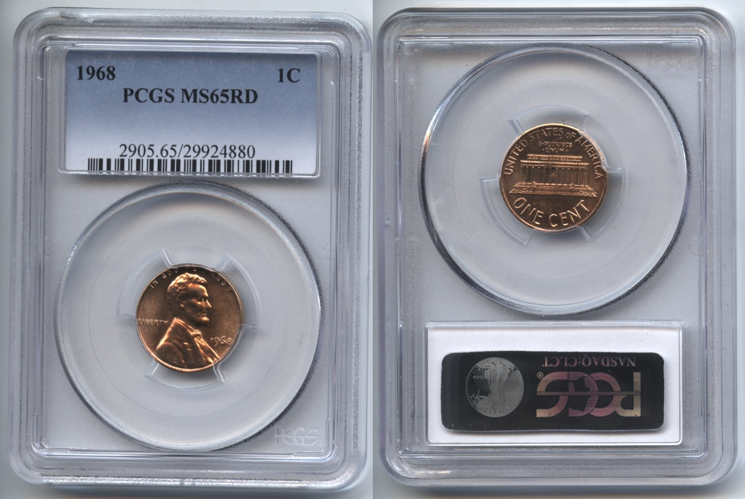 1968 Lincoln Cent PCGS MS-65 Red #b