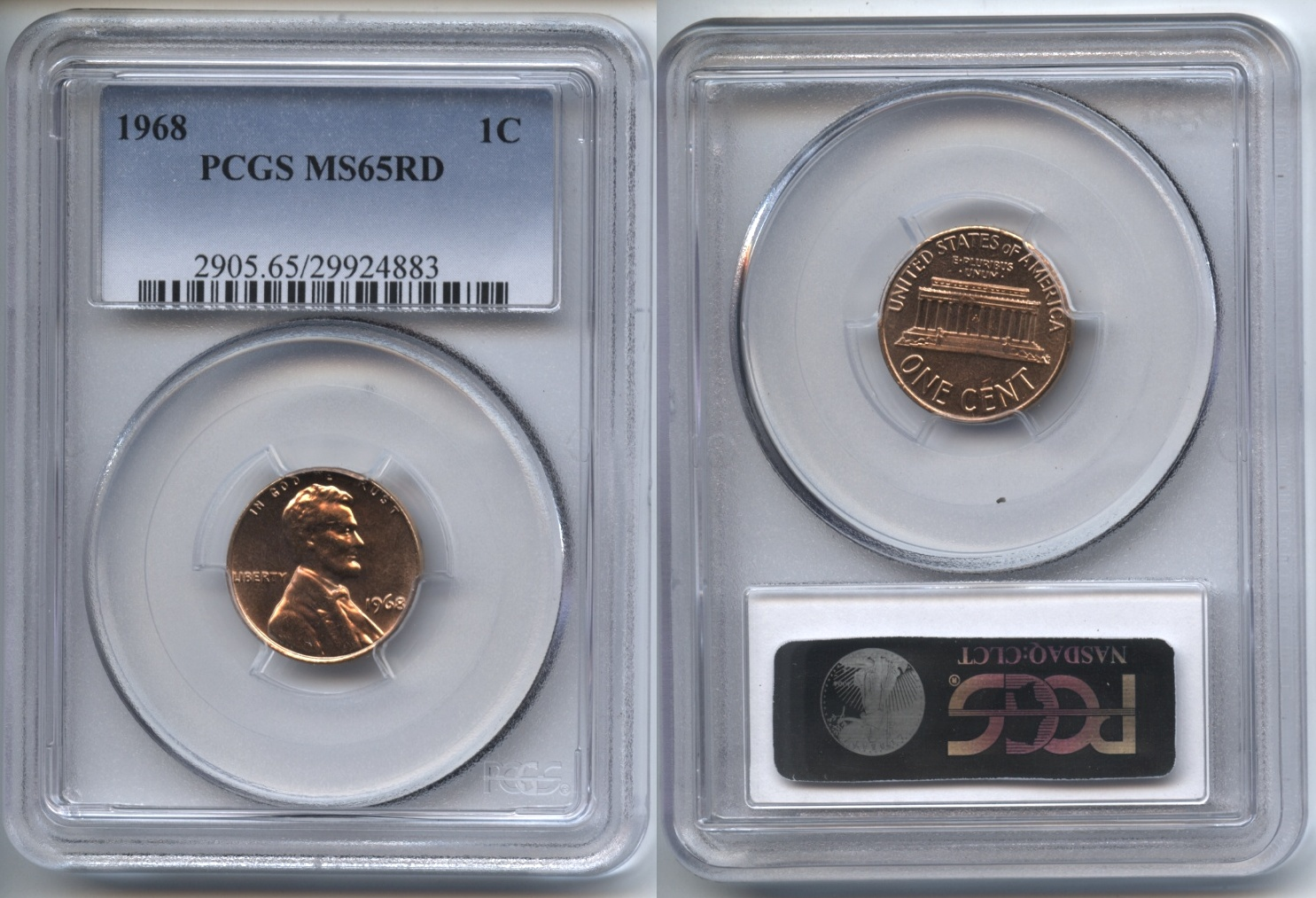 1968 Lincoln Cent PCGS MS-65 Red #f