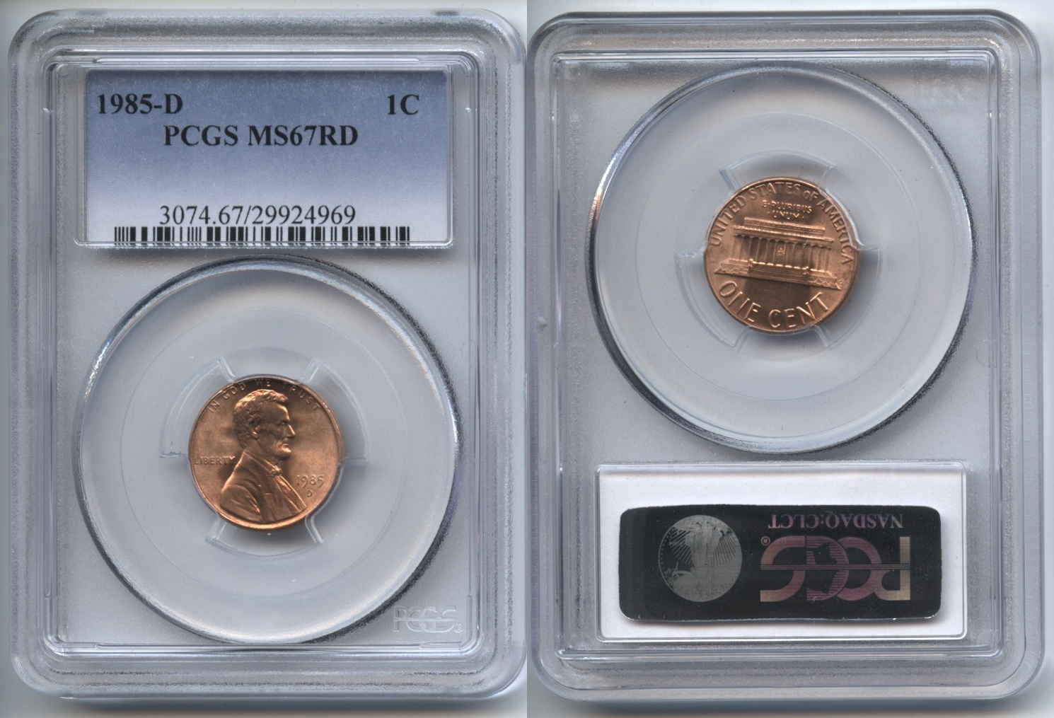 1985-D Lincoln Cent PCGS MS-67 Red #b