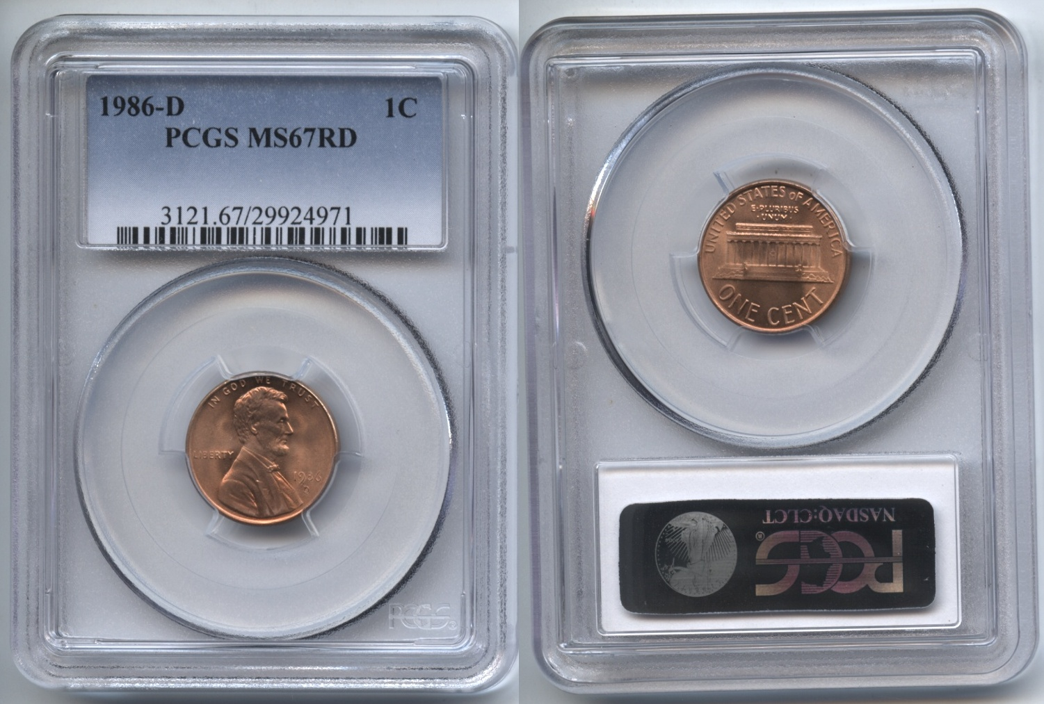 1986-D Lincoln Cent PCGS MS-67 Red