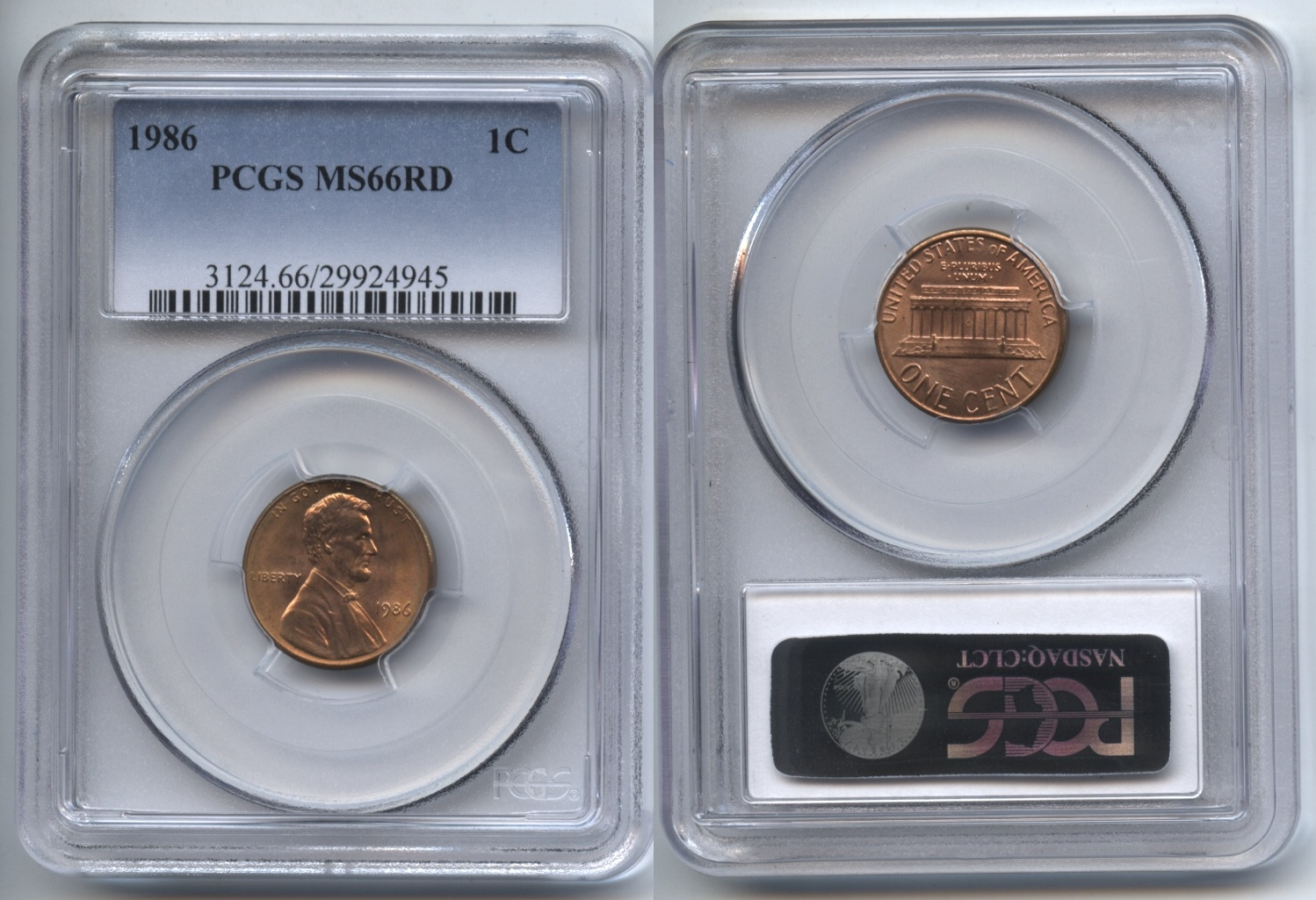 1986 Lincoln Cent PCGS MS-66 Red #a