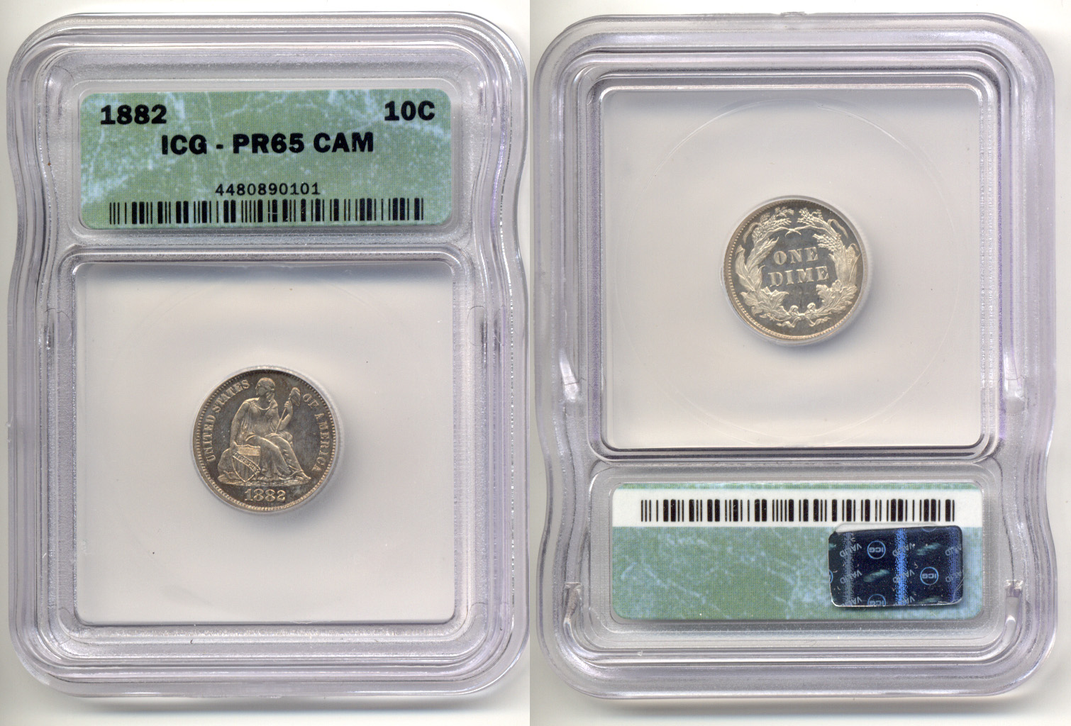 1882 Seated Liberty Dime ICG Proof-65 Cameo