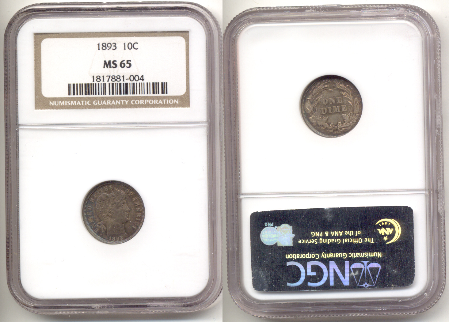 1893 Barber Dime NGC MS-65