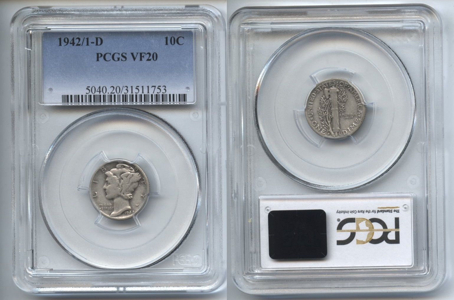 1942-D 2 over 1 Mercury Dime PCGS VF-20