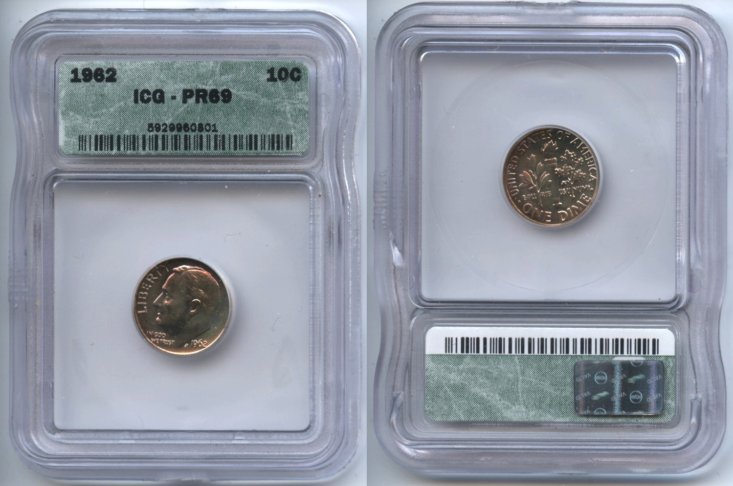 1962 Roosevelt Dime ICG Proof-69
